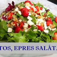 Vegetáriánus eper, gorgonzola és dió saláta