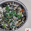 Tarhonyasaláta grillezett spárgával és egyéb zöldségekkel