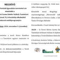 Emlékprogram a Teveli Kőrösi Csoma Sándor Székely Tanintézet alapításának 70.évfordulójához kapcsolódóan