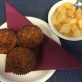 Zabpelyhes banán muffin almakompóttal
