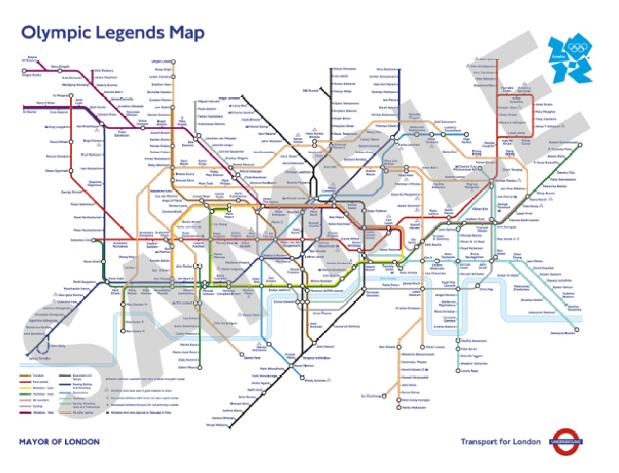 Londoni metrohalozat olimpikonok neveivel