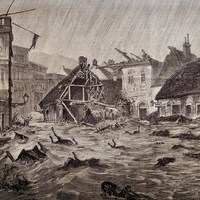 Tomboló ár a Rác fürdőnél 1875-ben