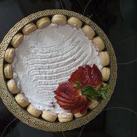 Epres túrókrémmel töltött babapiskóta torta
