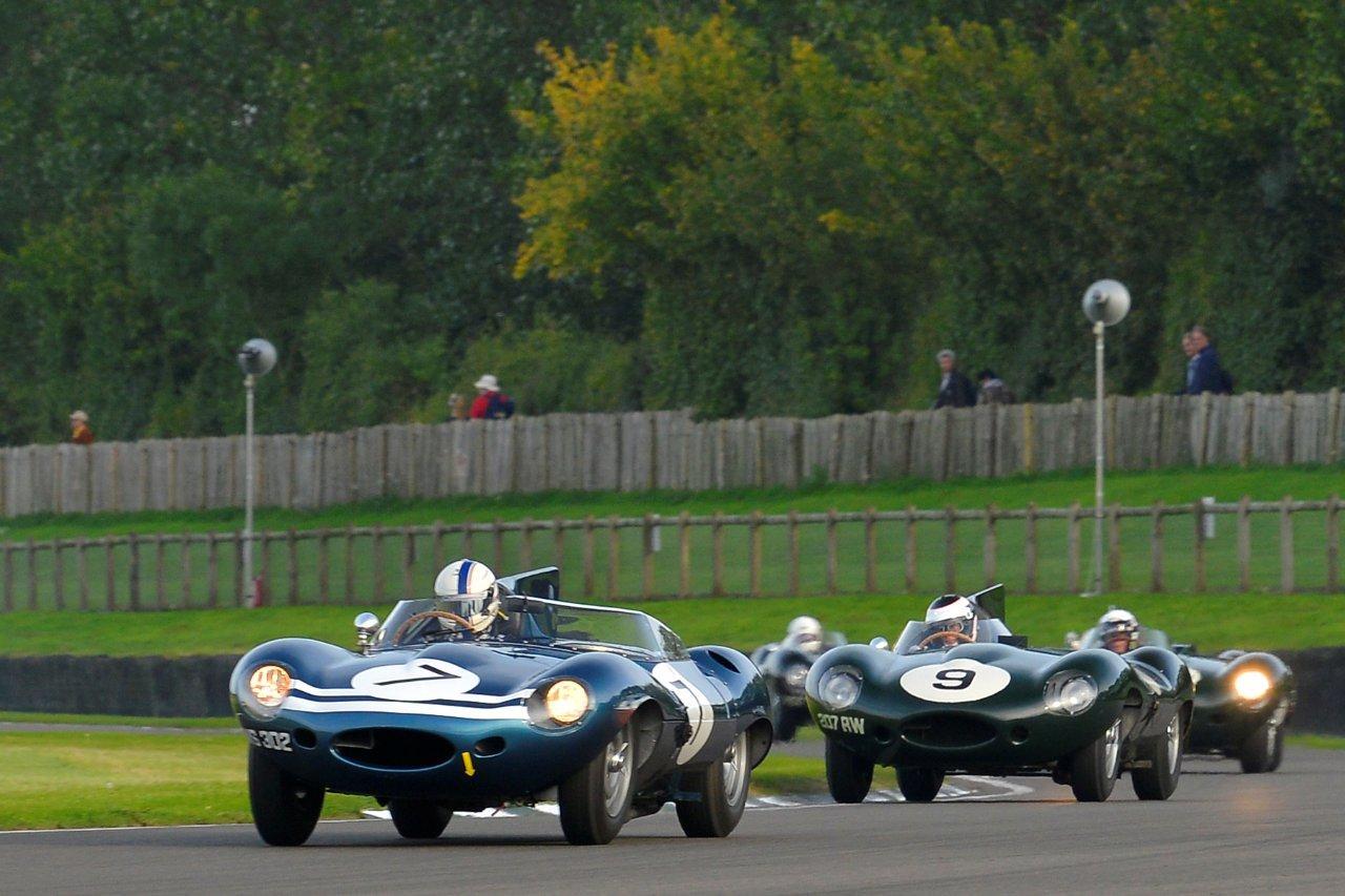 Jaguar D-Types battle at Goodwood Revival.jpg