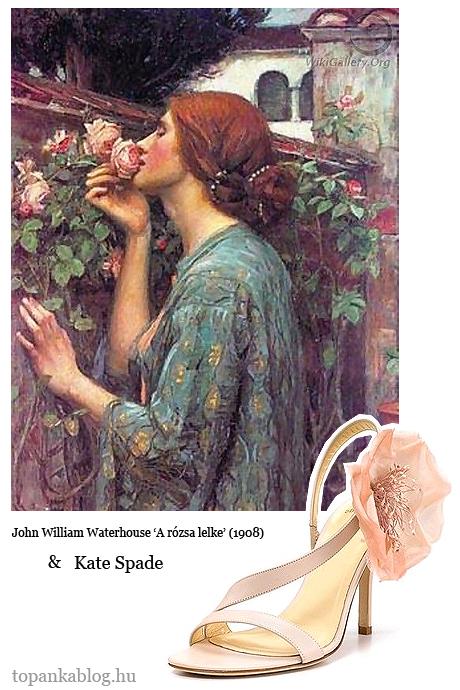 Kate Spade rózsadíszes szandál festmény inspiráció