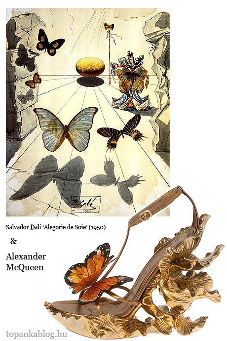Salvador Dalí pillangós festmény lepkés McQueen cipő