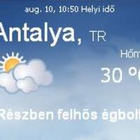Törökország aktuális időjárás előrejelzés, 2010. augusztus 10.