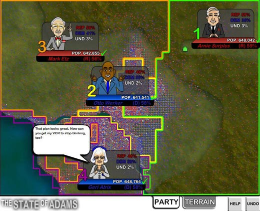 Redistricting Game - Gerrymandering flash játék