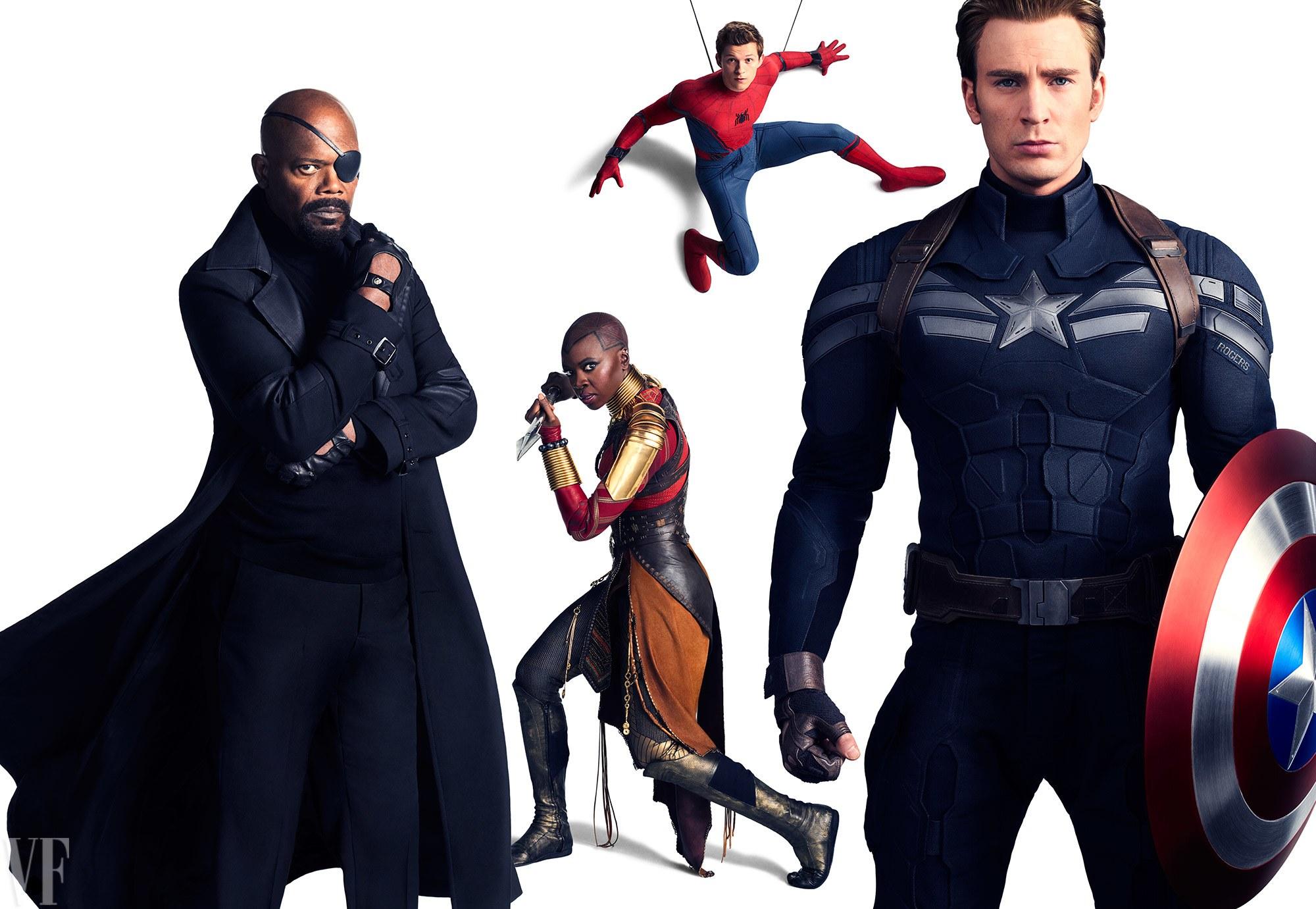 Samuel L. Jackson, mint Nick Fury, Danai Gurira, mint Okoye, Tom Holland, mint Pókember és Chris Evans, mint Amerika Kapitány