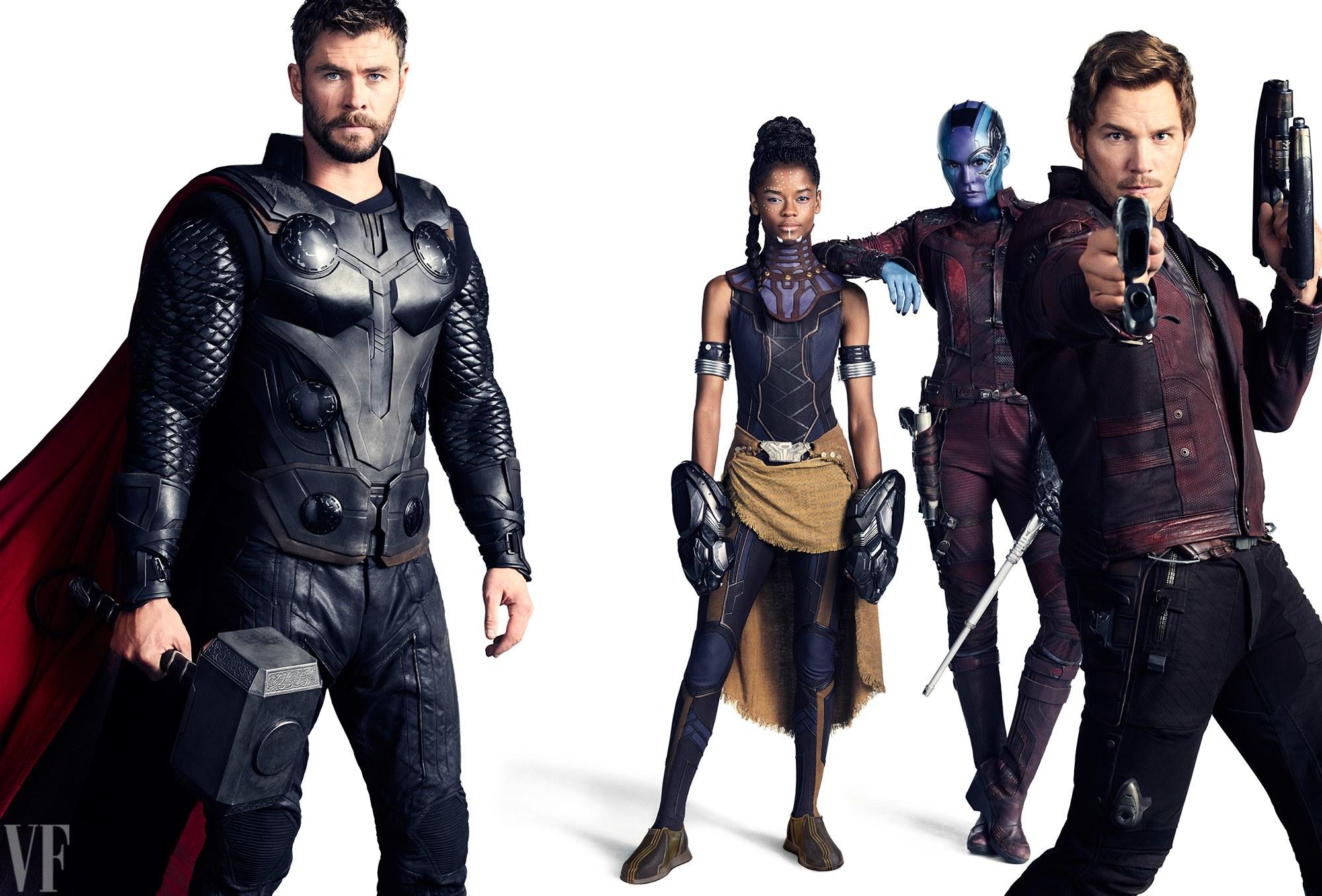 Chris Hemsworth, mint Thor, Letitia Wright, mint Shuri, Karen Gillan, mint Nebula és Chris Pratt, mint Űrlord