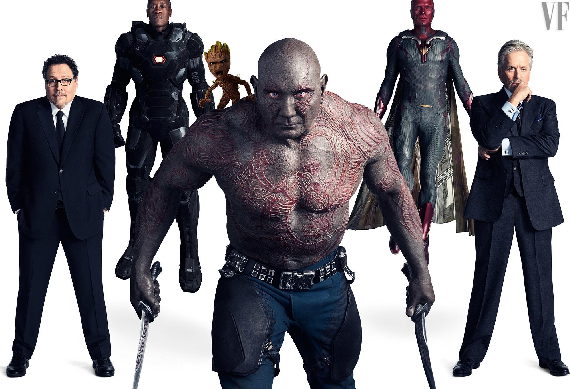 Jon Favreau, mint Happy Hogan, Don Cheadle, mint Hadigép, Vin Diesel, mint Groot, Dave Bautista, mint Drax, Paul Bettany, mint Vízió és Michael Douglas, mint Dr. Hank Pym