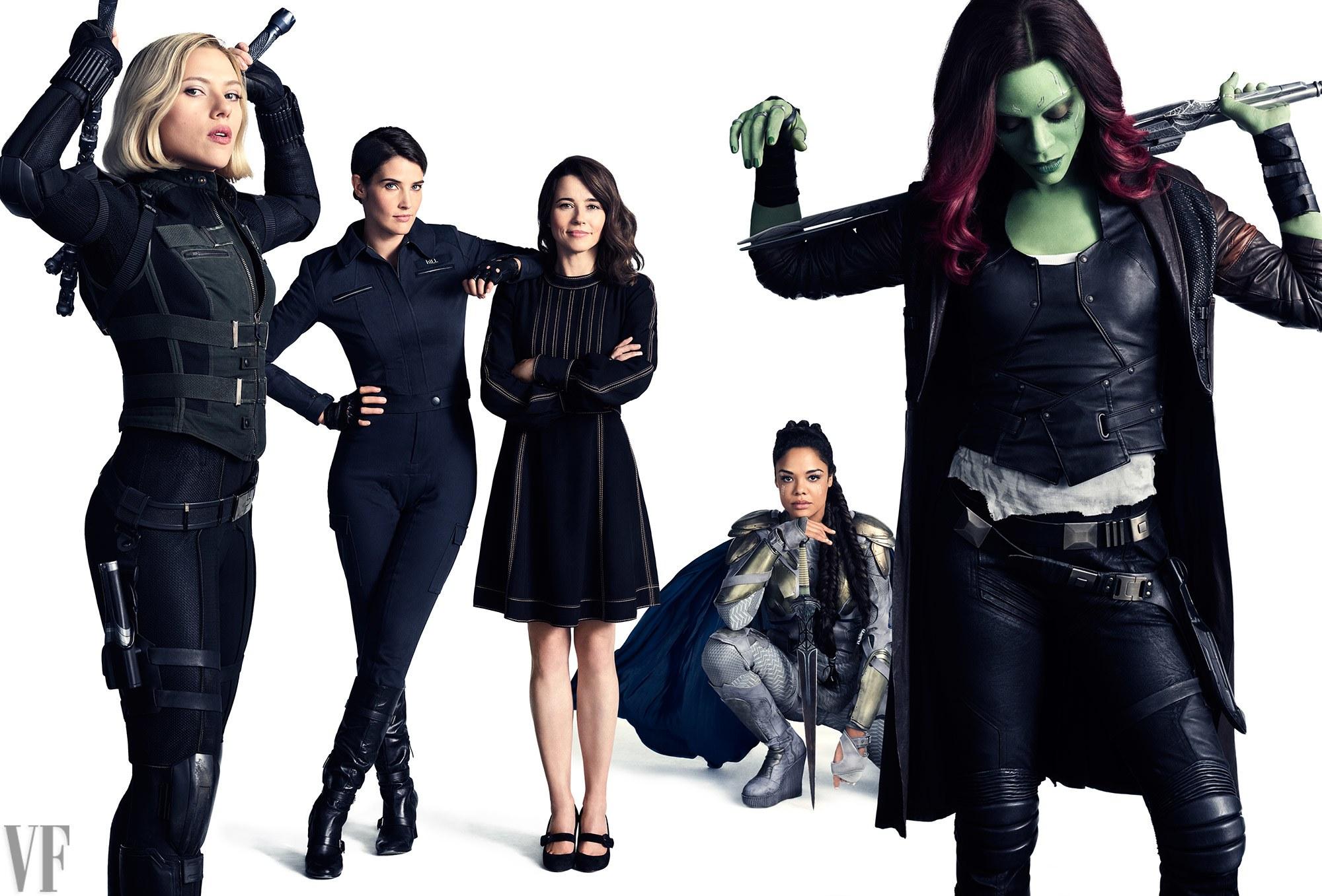 Scarlett Johansson, mint Fekete Özvegy, Cobie Smulders, mint Maria Hill, Linda Cardellini, mint Laura Barton, Tessa Thompson, mint Valkűr és Zoe Saldana, mint Gamora