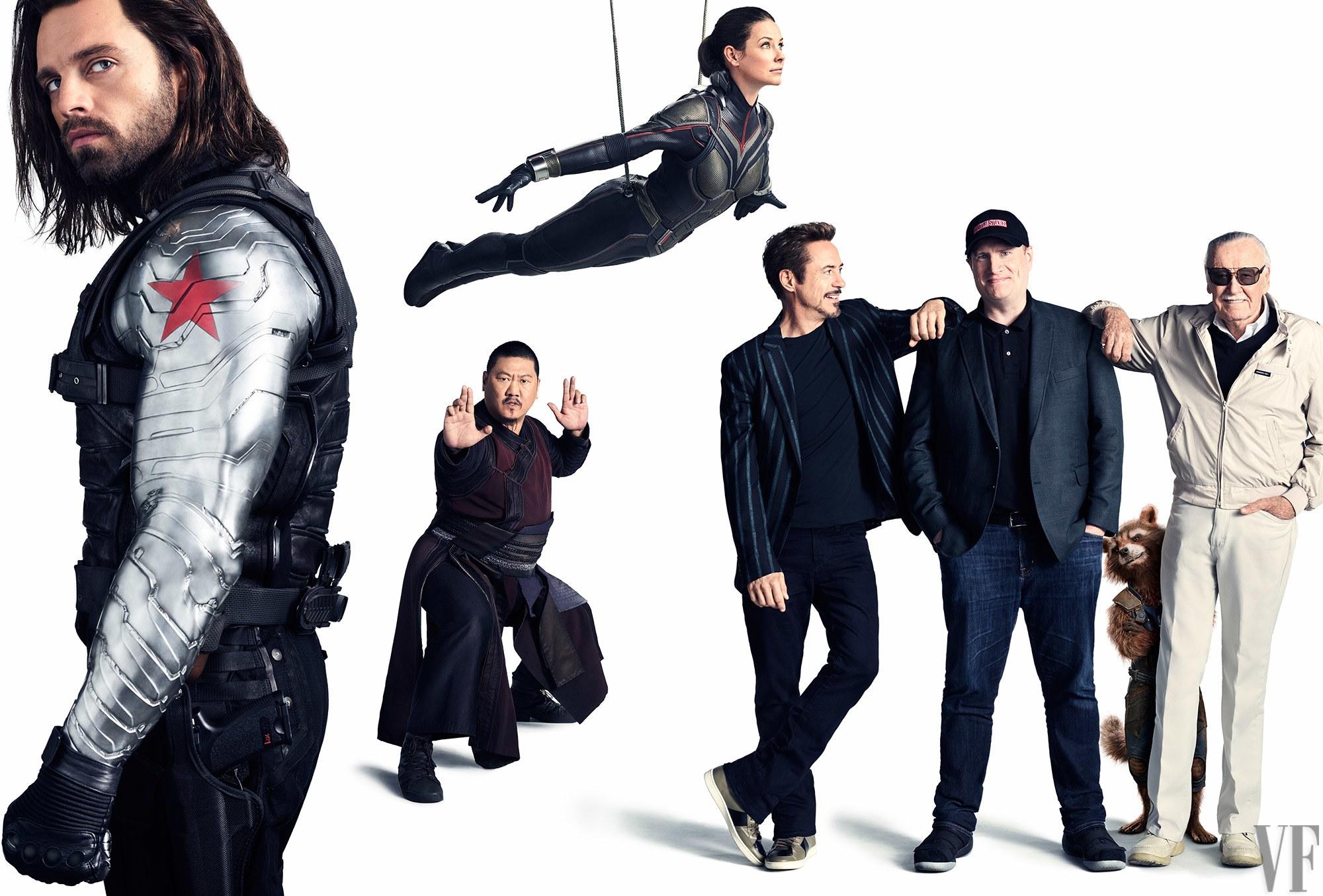 Sebastian Stan, mint a Tél katonája, Benedict Wong, mint Wong, Evangeline Lilly, mint Darázs, Robert Downey Jr., mint Tony Stark, a Marvel Studios elnöke, Kevin Feige és a Marvel Comics legendája, Stan Lee
