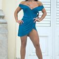 Blue dress in the castle