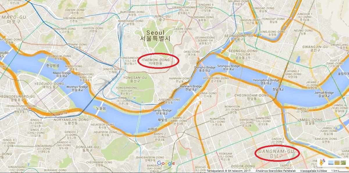 Itaewon a jellemzően turista-bulinegyed, Gangnam...igen, erről kapta címét az a bizonyos dal, amiben hülyén ugrálnak koreaiak. :P