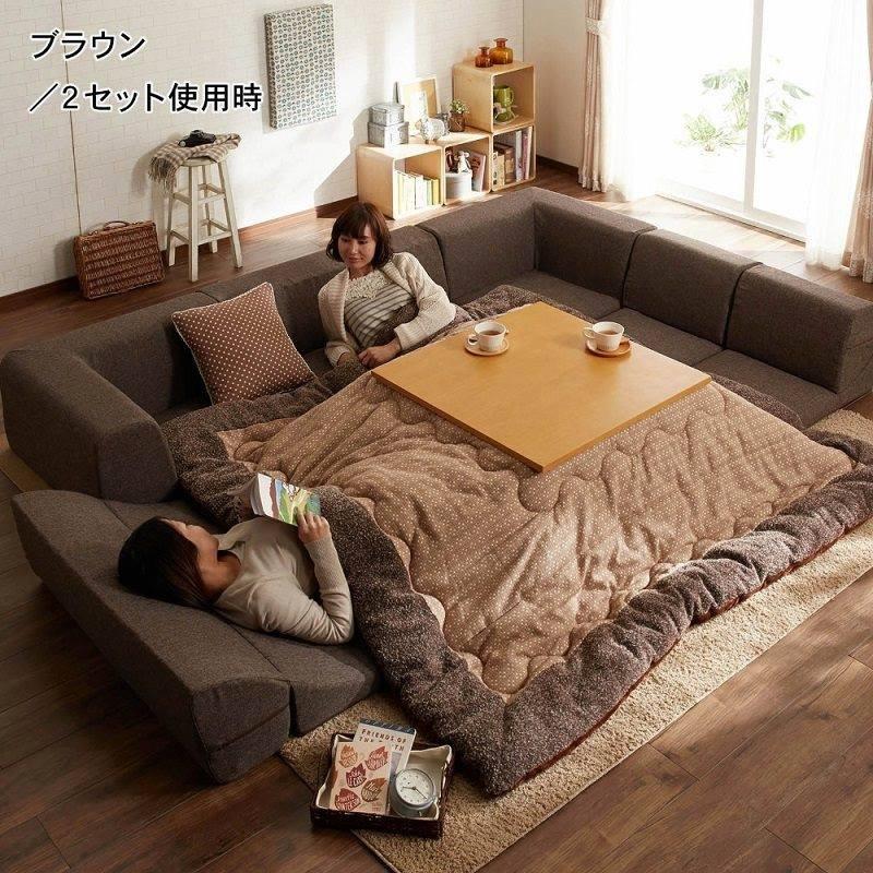 Kuckózós fűtőasztal a kotatsu a japán modern otthonban