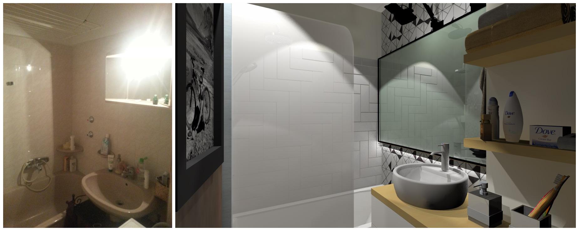 A geometrikus alakzatok győztek! - fürdőszoba felújítás
