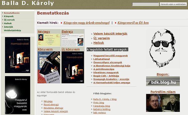 Balla D. Károly írói oldala