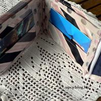 Pénztárca nyakkendőből 1. - rózsaszín és szürke
