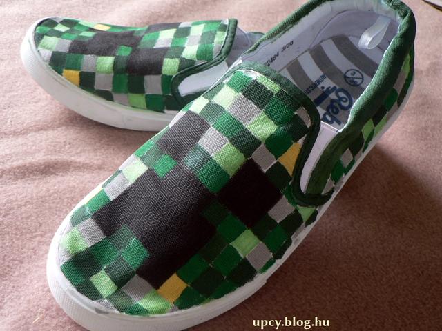 Minecraft projekt 3. - Creeper cipő