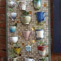 Marianna névnapra - törött csészéből mini cserepes mozaikfal