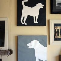 Ajtony és Krisztián névnapra - kutya-sziluett festmény