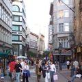 Egyforma üzletek egykupacban. Antikvitás utca, könyvesbolt út, ingatlanos megálló