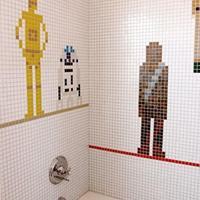 Star Wars-mozaikos fürdőszoba