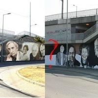 Hova lett Kutya bácsi a nemzet színészei közül? A Rákóczi hídra készülő graffiti tervén és vázlatán még rajta volt, aztán eltűnt - FRISSÍTVE