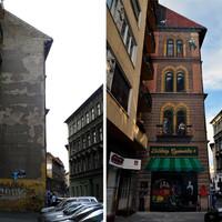 Klassz tűzfalfestés Erzsébetvárosban: kamu házfal Széna téri stílusban