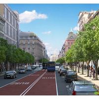 Milyen lenne a Rákóczi tengely 2x1 sávos autóforgalommal? Buszsáv, kerékpársáv, fasorok és széles járdák