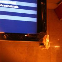 Balesetvédelem az Astorián: vadonatúj kijelző a sarkára celluxozott Metró-újsággal