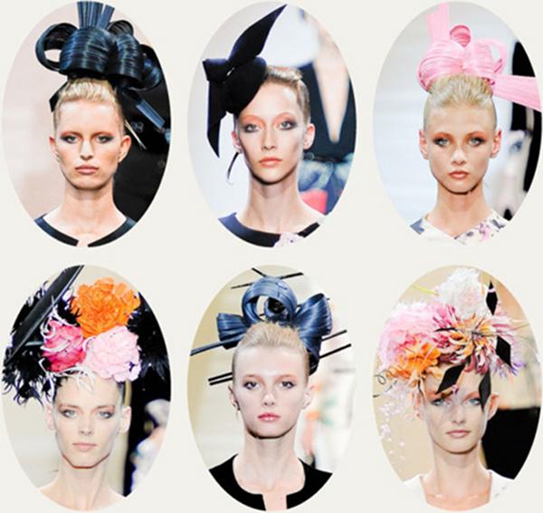 5029e9618a Treacy megközelítésében a virágok elrendezése a tradicionálisabb stílusú  fejdíszeket utánozta, mindezt kiegészítette a kollekció öltözékein használt  ...