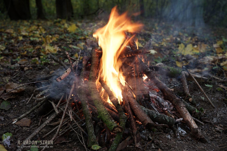 A tüzet akkorára rakjuk, hogy körbevegye a fémdobozt. Amit közben igyekszünk nem elmozdítani, mert akkor kárba veszik a kátrányunk.