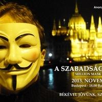 """Nov. 5. """"A Szabadság menete"""" – Anonymous-Occupy együttműködés <br/> Nem tetszik a rendszer? Tényleg? Fejezd ki!"""