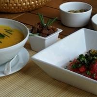 Sütőtökkrém leves, és sültpaprika saláta