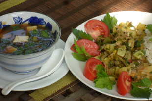 Napi menü — miso leves, spárgatök ragu rizzsel
