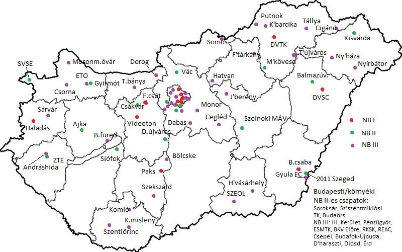 magyarország térkép cegléd Kis magyar futballtérkép 2015/2016   Válogatott okosságok magyarország térkép cegléd