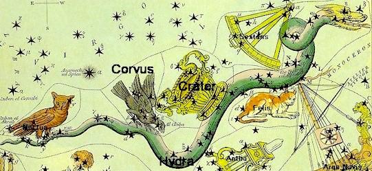 Corvus - Hydra - Crater csillagképek