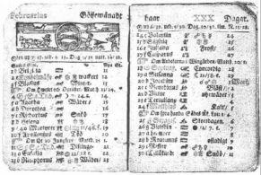 Svéd évkönyv holdfázis- és bolygójelölésekkel (1712-ből)