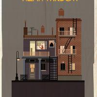 Színes minimál illusztrációk ikonikus filmbéli épületekről