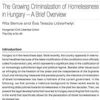 Rita Bence and Éva Tessza Udvarhelyi:  The Growing Criminalization of Homelessness in Hungary – A Brief Overview