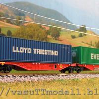 Modellbemutató - Hobbytrain iker-konténeres kocsik