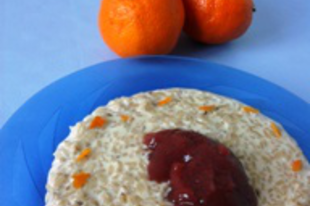 Narancsos tejberizs eperlekvárral