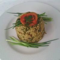 Fehérboros szejtános rizottó Vegán majonézzel