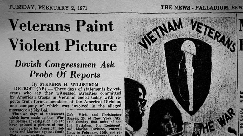 'A veteránok erőszakos képet festenek a történtekről – a béketámogató kongresszusi tagok vizsgálatot sürgetnek.' Február 2-i cikk egy napilapból.