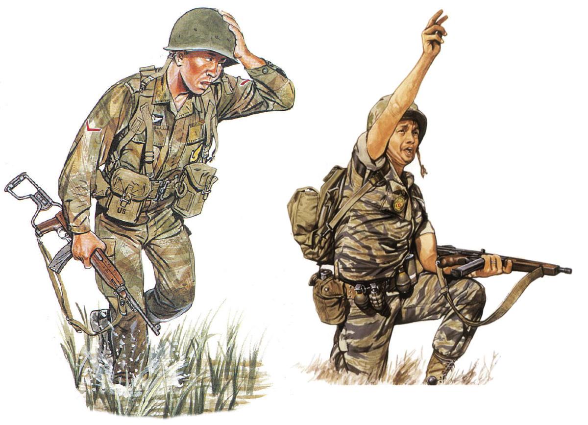 Balra egy légideszantos őrmester 1963-ból. A korai ejtőernyős álcaruhát viseli, amelynek mintája és szabása a régi francia egyenruháét követi. Szerelvénye második világháborús, illetve M1956-os elemekből áll. Fegyvere egy behajtható tusával rendelkező M-1A1 karabély. Jobbra egy tengerészgyalogos rajparancsnok 1967-ből. Vászon és bőr Bata bakancsot visel, fegyvere egy M-1 Thompson géppisztoly. Tigriscsíkos egyenruhájának mellrészén a tengerészgyalogos dandár (később hadosztály) hímzett jelvénye.