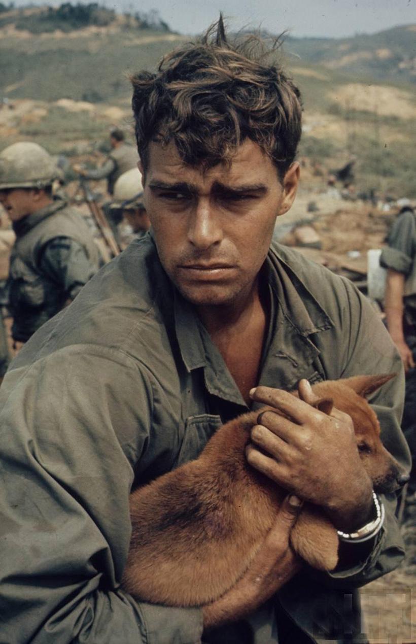 Amerikai katona kiskutyával