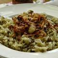 Fűszeres lencsés rizs sült hagymával