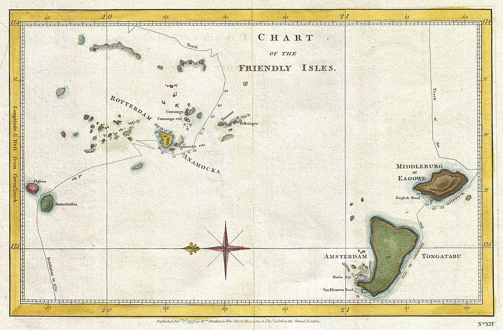 James Cook brit hajóskapitány 1777-es térképe Tongáról. (forrás: Wikipedia)
